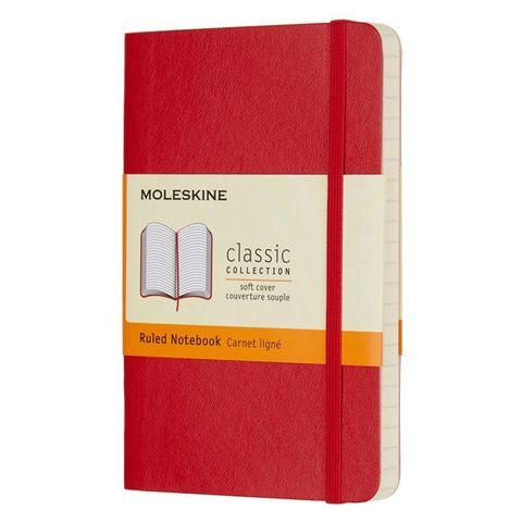 Блокнот Moleskine CLASSIC SOFT QP611F2 Pocket 90x140мм 192стр. линейка мягкая обложка красный
