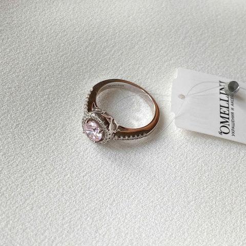 Кольцо с Цирконом-принцесс и витиеватыми крапами розовый (серебро 925)