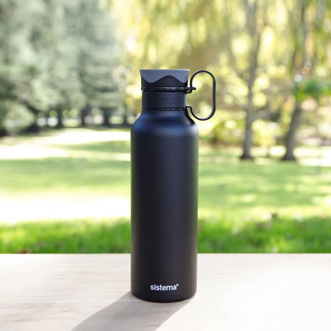 """Термобутылка Sistema """"Hydrate"""" с петелькой 600 мл, цвет Черный"""