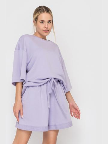 Костюм футер трехнитка (шорты и футболка) лиловый YOS