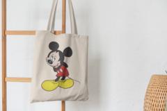 Сумка-шоппер с принтом Микки Маус (Mickey Mouse) бежевая 009