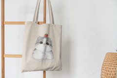 Сумка-шоппер с принтом Кот, Кошка, Котенок (кошки) бежевая 0011