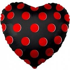К 18''/46см, Сердце, Красные точки, Черный.