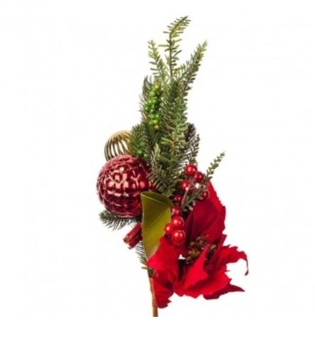 Ветка еловая с ягодами и пуансеттией, высота: 60см, красный