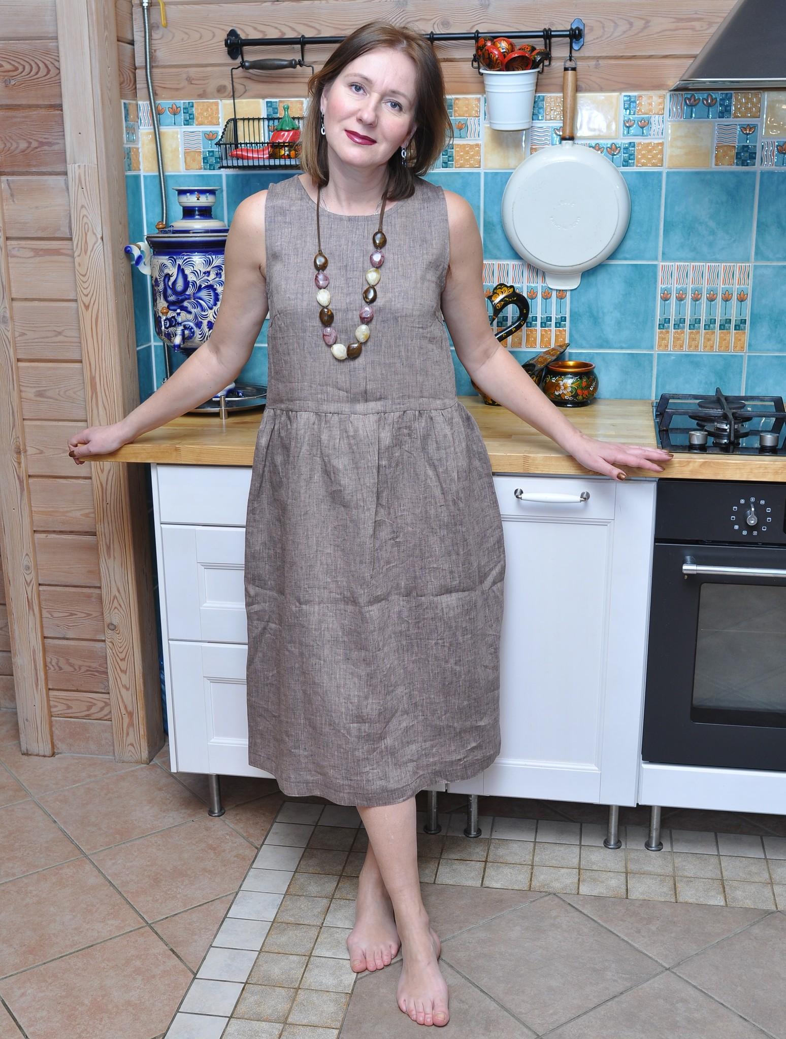 Платье свободное из льна меланж какао