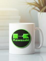 Кружка с рисунком Кавасаки (Kawasaki) белая 005