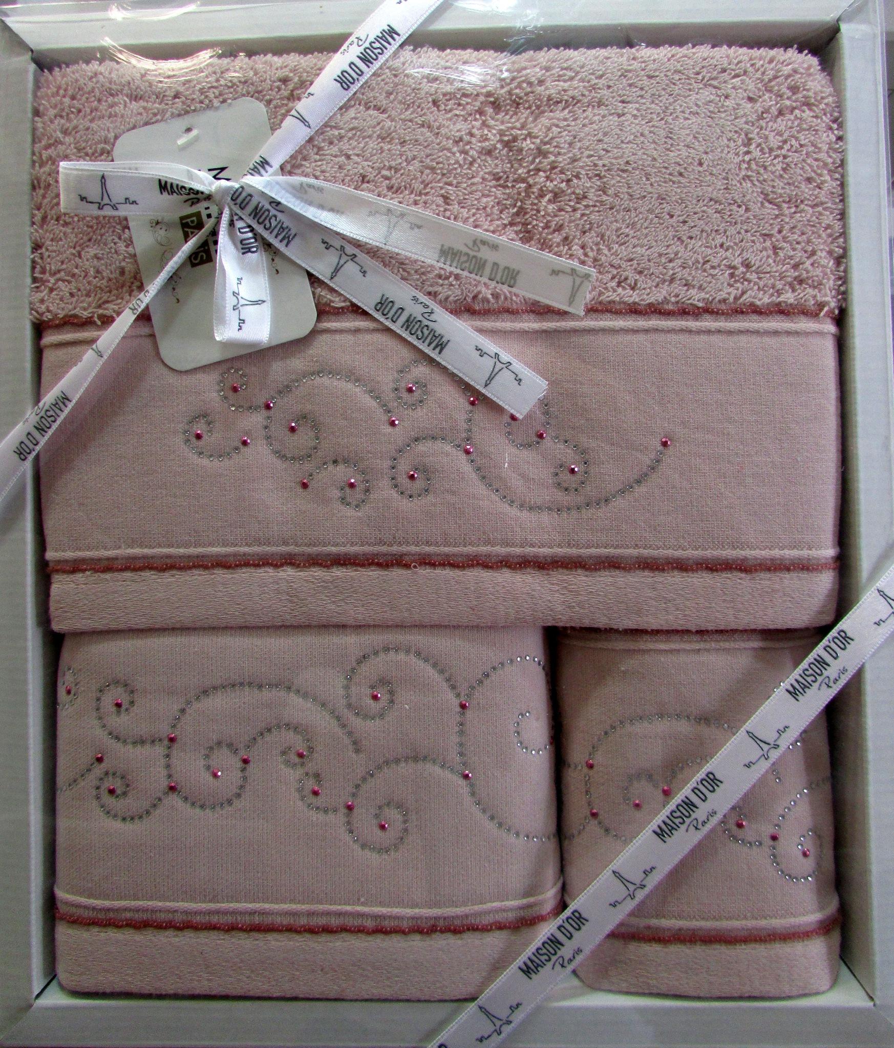 Наборы полотенец Набор полотенец  DALIY - ДАЛИИ 3пр 30х50 50х90 и 70х140 Maison Dor (Турция) далии_гр.розов_3шт.jpg