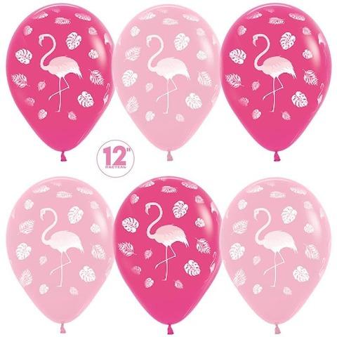Шар (12''/30 см) Фламинго и листья, Фуше (012)/Розовый (009), пастель, 5 ст.