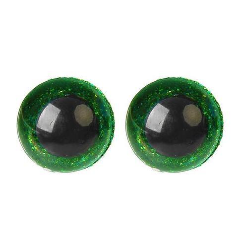 Глазки пластиковые с искоркой 16 мм зеленые