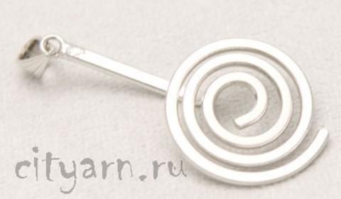 Подвеска Holz Stein спиральная, диаметр 24 мм, серебряного цвета