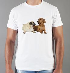 Футболка с принтом собаки (Собачки, Мопс, Такса) белая 0048