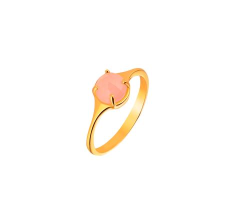 Кольцо с розовым халцедоном в позолоте