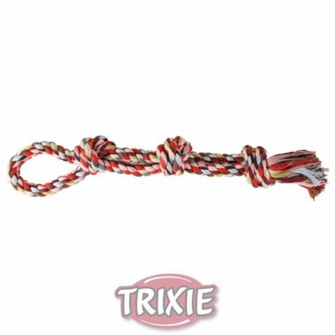 """Trixiе 3275 Игрушка д/собак """"веревка с 3-мя узлами и петлей"""" цветная, хлопок 500гр*60см"""