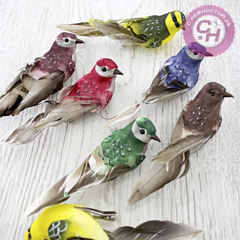 Птички перьевые 14 см, на прищепке,1 шт.