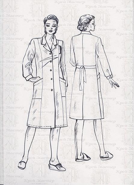 Выкройка медицинского классического халата