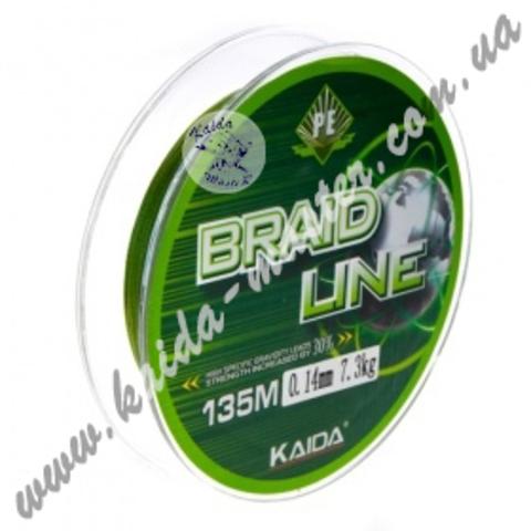 Плетенка BRAID LINE KAIDA 135 м, 0.18 мм