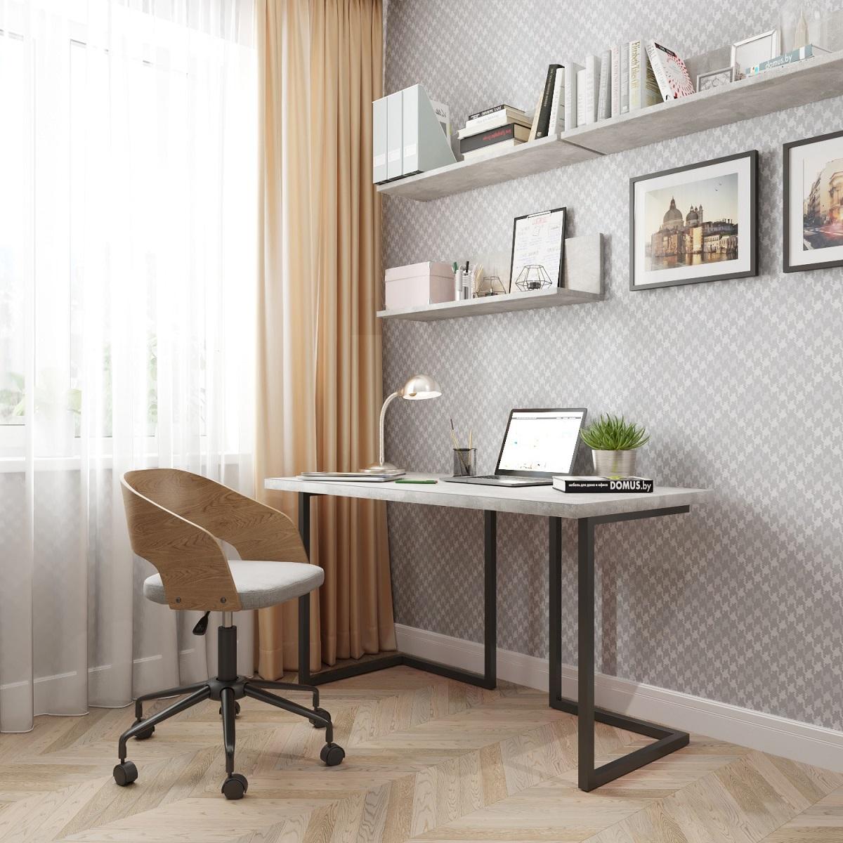 Письменный стол ДОМУС Урбан-1 бетон серый/металл черный