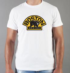 Футболка с принтом НХЛ Бостон Брюинз (NHL Boston Bruins) белая 009