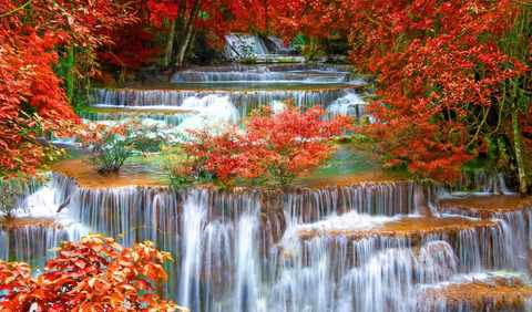 Алмазная Мозаика 20x30 Водопад в осенних красках