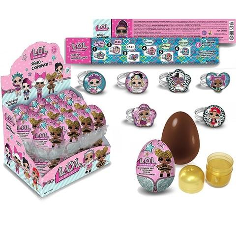 Яйцо кондитерское с коллекционной игрушкой в виде колечка из металла и полимерных материалов внутри, TM L.O.L. Surprise!, 1кор*2бл*24шт 20г