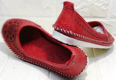 Легкие летние туфли балетки женские кожаные Rozen 212 Red.