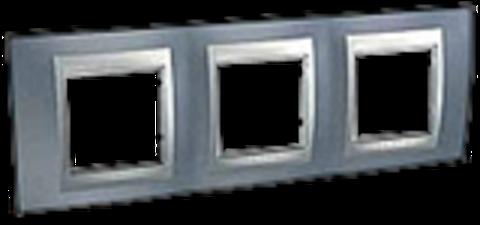 Рамка на 3 поста. Цвет Грэй-алюминий. Schneider electric Unica Top. MGU66.006.097
