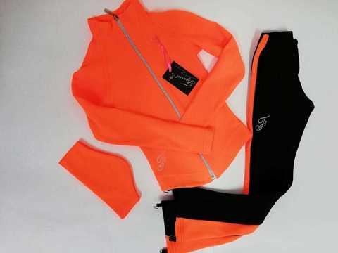 Термокомплект + повязка (черный+оранжевый), рост 116 см