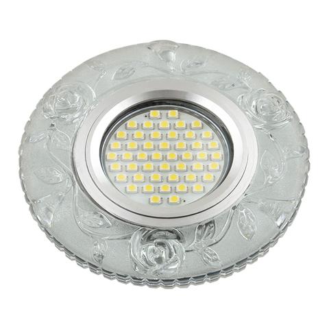 DLS-L150 GU5.3 GLASSY/CLEAR Светильник декоративный встраиваемый, серия Luciole. Без лампы, цоколь GU5.3. Доп. светодиодная подсветка 3Вт. Стекло. Зеркальный/прозрачный. ТМ Fametto