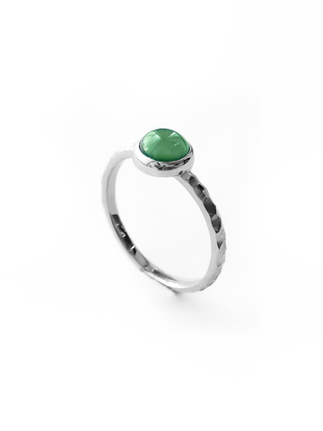 Серебряное узкое кольцо с авантюрином