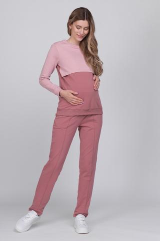 Спортивный костюм для беременных и кормящих 12621 пепельная роза