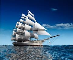 Алмазная Мозаика + Багет 30x40 Корабль на тихой воде