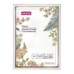 Рамка пластиковая Attache 21x30 (A4) ПЭТ  Белая с золотом