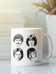 Кружка с изображением Битлз (The Beatles) белая 005