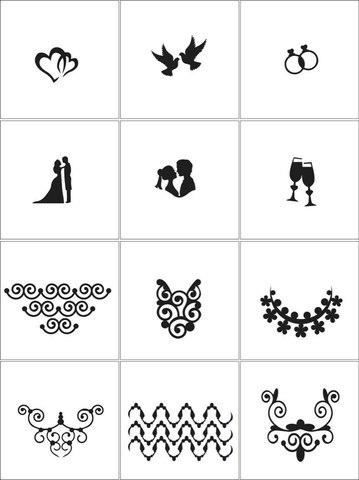 Трафарет для ногтей - Свадьба (12 шт. /1 уп)