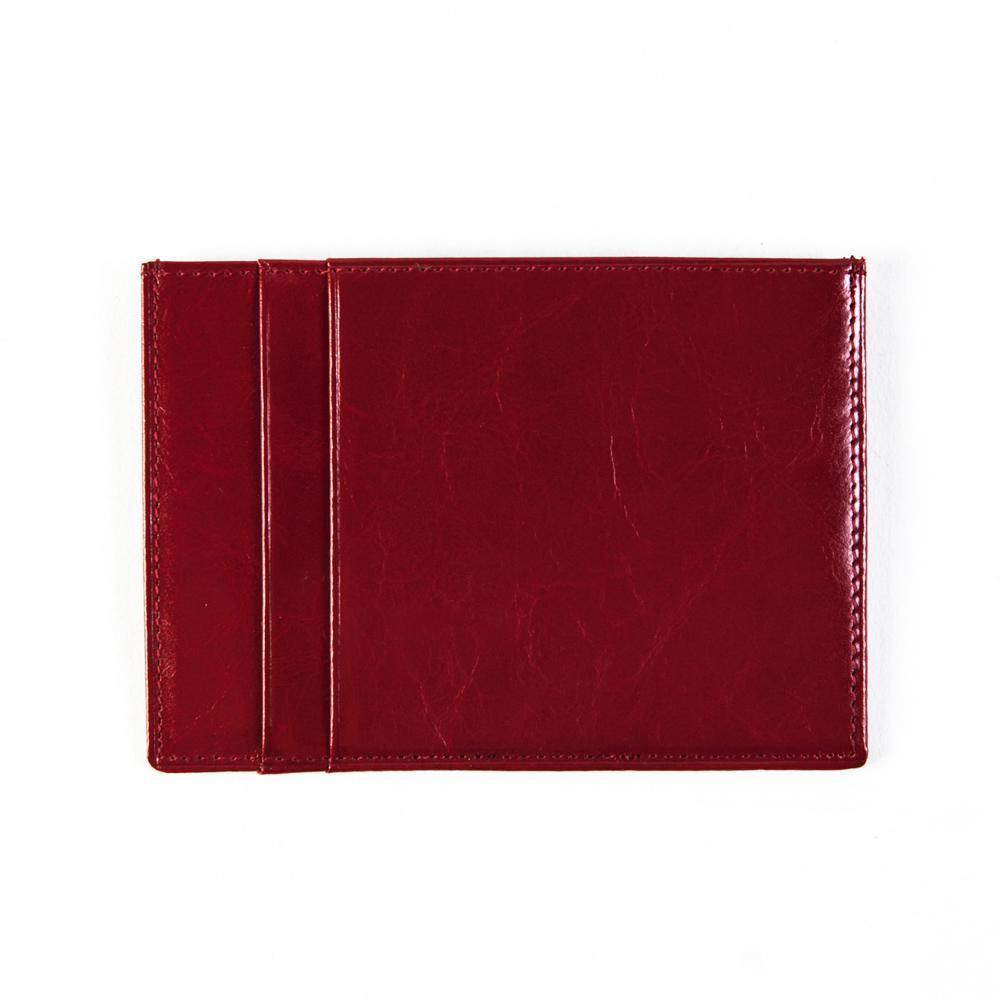 Маленький женский красный кошелёк-карточница (картхолдер) с отделением для техпаспорта из натуральной кожи DoubleCity 201801-YPB