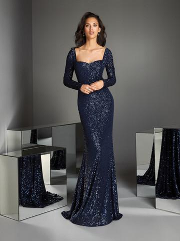 Вечернее платье классическое в темно-синих пайетках