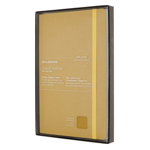 Блокнот Moleskine LIMITED EDITION LEATHER LCLH31SM17BOX Large 130х210мм натур. кожа 192стр. линейка мягкая обложка желтый