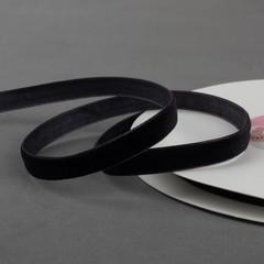 Лента бархатная, 10 мм, 18 м, цвет чёрный, 1 шт.