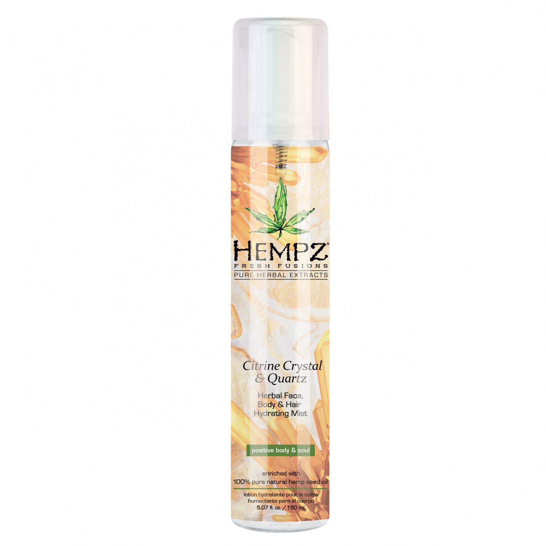 Hempz - Уход для тела: Спрей увлажняющий для лица, тела и волос с мерцающим эффектом Желтый Кварц (Citrine Crystal & Quartz Herbal Face, Body & Hair Hydrating Mist), 150мл