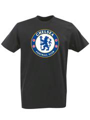 Футболка с принтом FC Chelsea (ФК Челси) черная 0002
