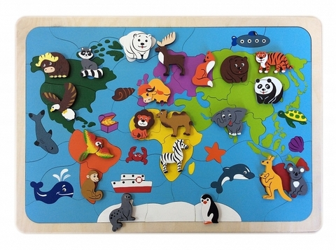 Мозаика-вкладыш Карта мира, Крона, арт. 143-075