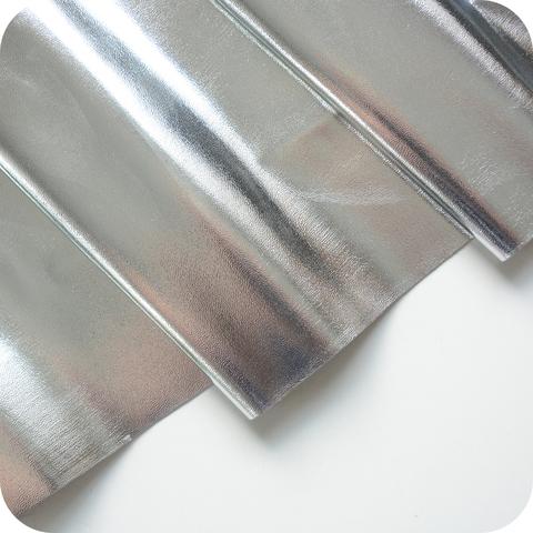 Кожзам метализированный на тканевой основе, цвет серебро