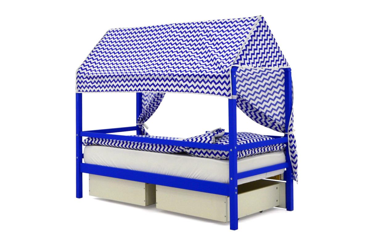 """Крыша текстильная для кровати-домика Svogen """"зигзаги синие"""""""