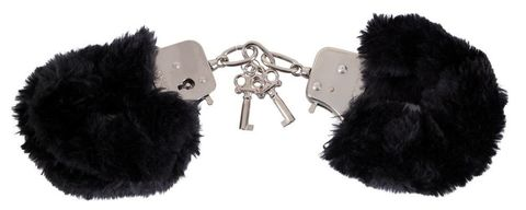 Черные меховые наручники Love Cuffs Black