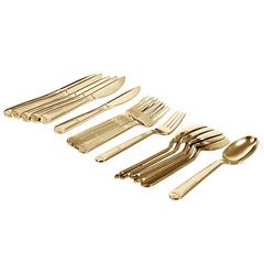 Набор столовых приборов premium золото (одноразовые вилки, ложки, ножи по 6 штук в боксе)