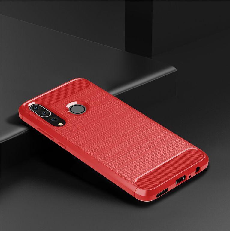 Чехол для Huawei P30 Lite (Nova 4E) цвет Red (красный), серия Carbon от Caseport