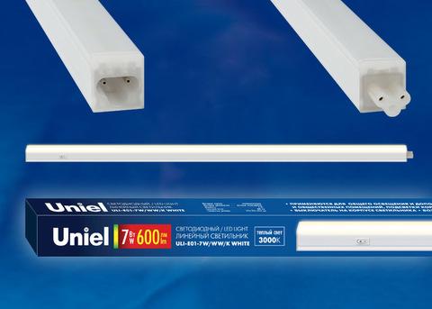 ULI-E01-7W/WW/K WHITE Светильник линейный светодиодный (аналог T5), с выключателем.  Теплый белый свет(3000K). 600Лм. Корпус белый. ТМ Uniel.