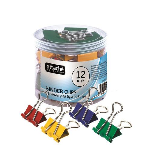Зажимы для бумаг Attache Selection 51 мм цветные (12 штук в упаковке)