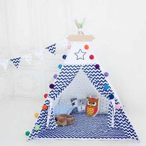 """Палатка ВигВам для детей """"Зигзаг синий"""""""