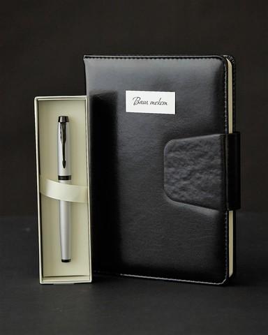 Набор с гравировкой: Ежедневник недатированный и ручка роллер Parker IM Achromatic Matte Grey123